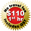 No travel fee Includes GST $110 1st hr